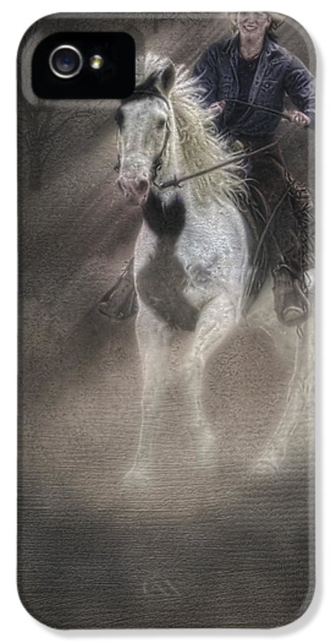 Animals IPhone 5 Case featuring the photograph Cowgirl And Knight by Susan Candelario