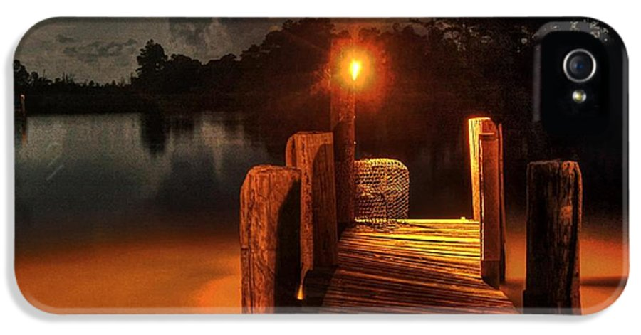 Alabama IPhone 5 Case featuring the photograph Crab Pot At The End Of The Dock by Michael Thomas