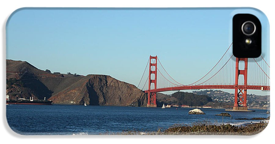 Golden Gate Bridge IPhone 5 Case featuring the photograph Crashing Waves And The Golden Gate Bridge by Linda Woods