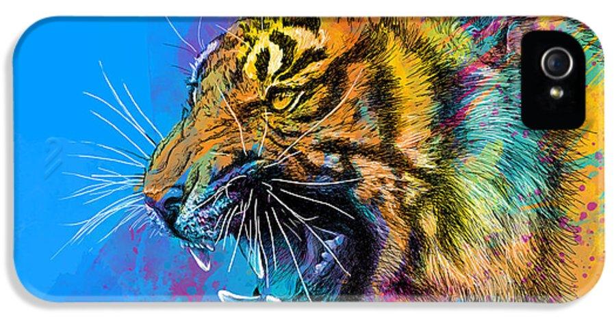 Tiger IPhone 5 Case featuring the digital art Crazy Tiger by Olga Shvartsur