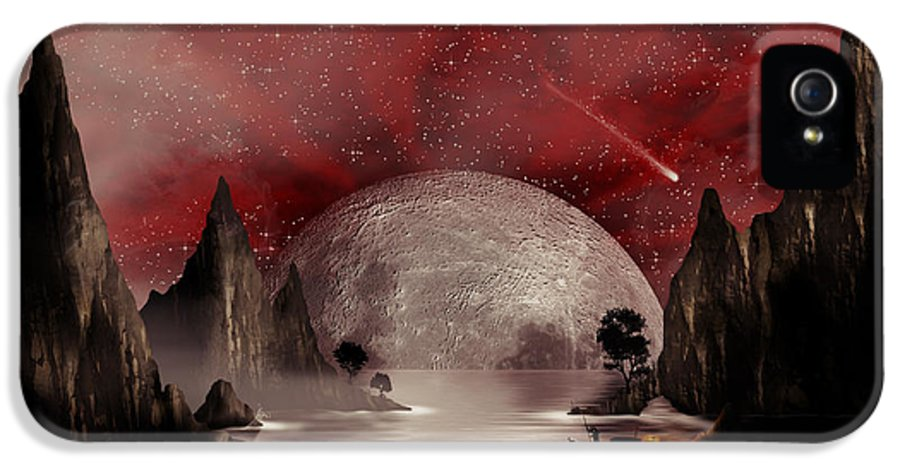 Moon IPhone 5 Case featuring the digital art Crimson Night by Anthony Citro