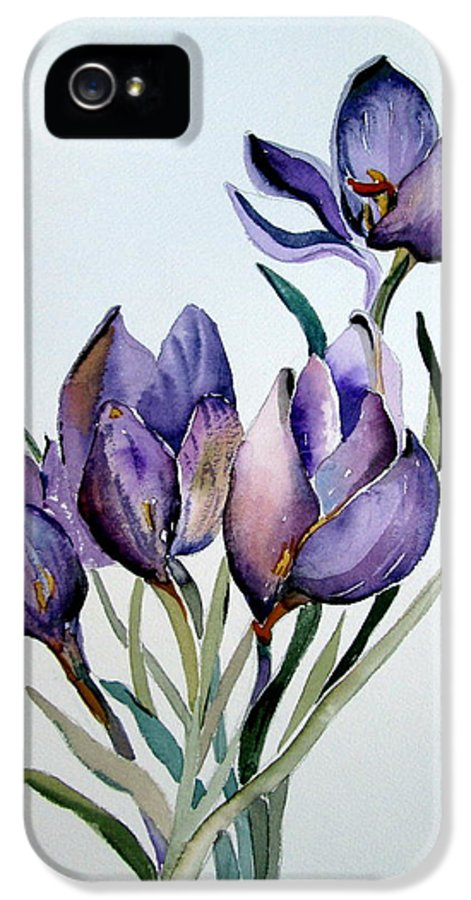 Crocus IPhone 5 Case featuring the painting Crocus In April by Mindy Newman
