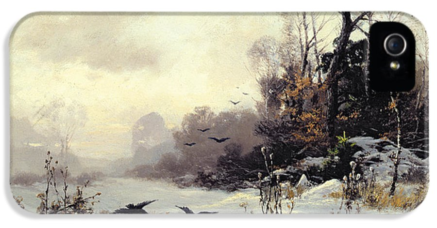 Snow IPhone 5 Case featuring the painting Crows In A Winter Landscape by Karl Kustner
