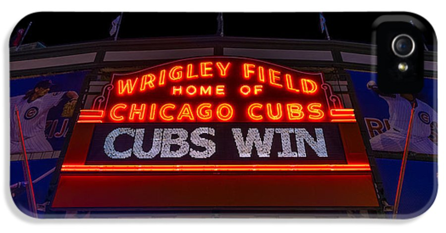 Marquee IPhone 5 Case featuring the photograph Cubs Win by Steve Gadomski