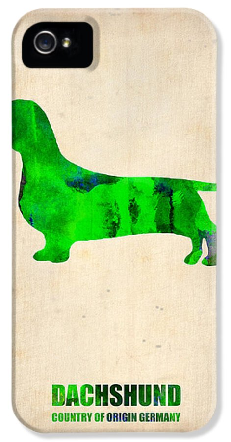 Dachshund IPhone 5 / 5s Case featuring the painting Dachshund Poster 1 by Naxart Studio