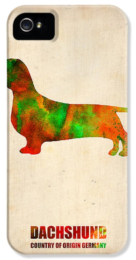 Dachshund IPhone 5 Case featuring the painting Dachshund Poster 2 by Naxart Studio