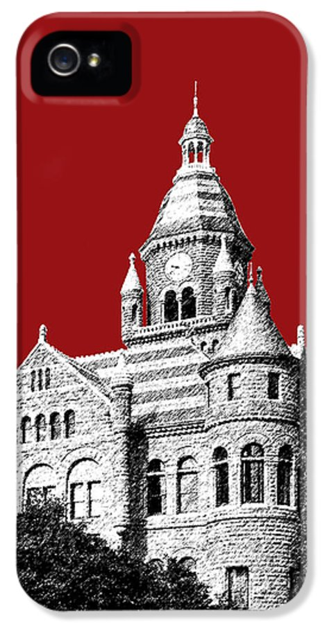 Architecture IPhone 5 Case featuring the digital art Dallas Skyline Old Red Courthouse - Dark Red by DB Artist