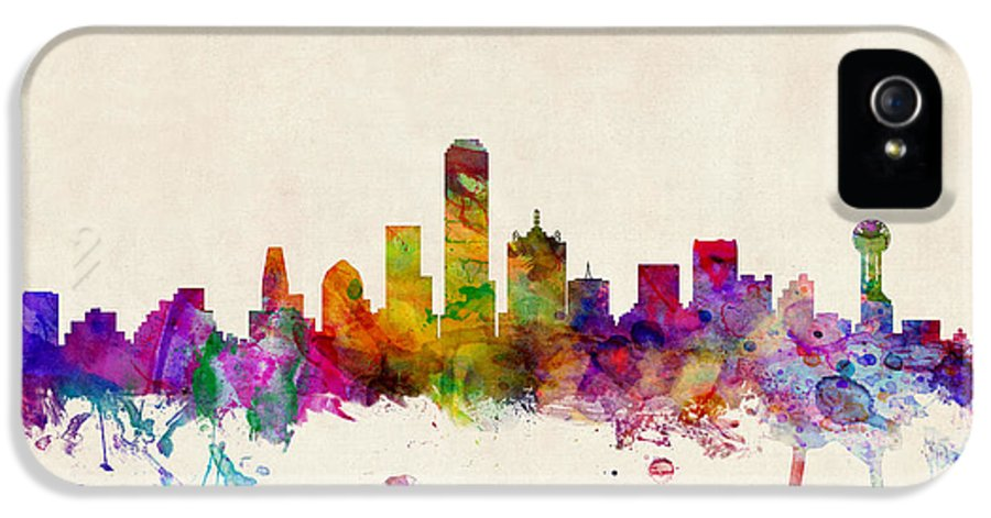 Watercolour IPhone 5 Case featuring the digital art Dallas Texas Skyline by Michael Tompsett