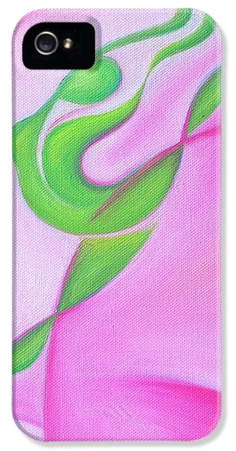 Abstract Art IPhone 5 Case featuring the painting Dancing Sprite In Pink And Green by Tiffany Davis-Rustam