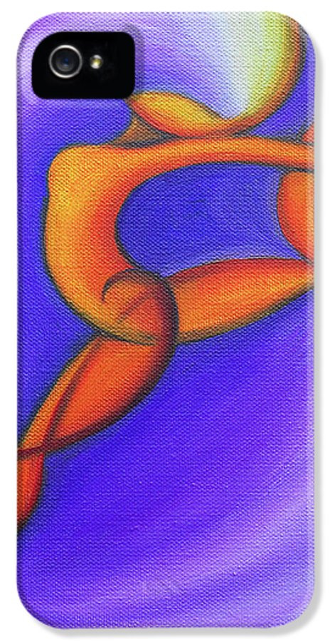 Abstract Art IPhone 5 Case featuring the painting Dancing Sprite In Purple And Orange by Tiffany Davis-Rustam