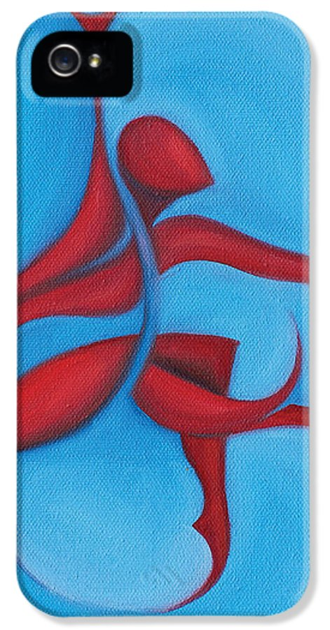 Abstract Art IPhone 5 Case featuring the painting Dancing Sprite In Red And Turquoise by Tiffany Davis-Rustam