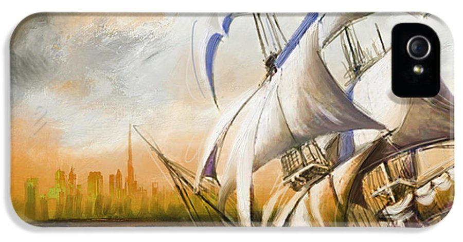 Ship IPhone 5 Case featuring the painting Dangerous Tides by Corporate Art Task Force
