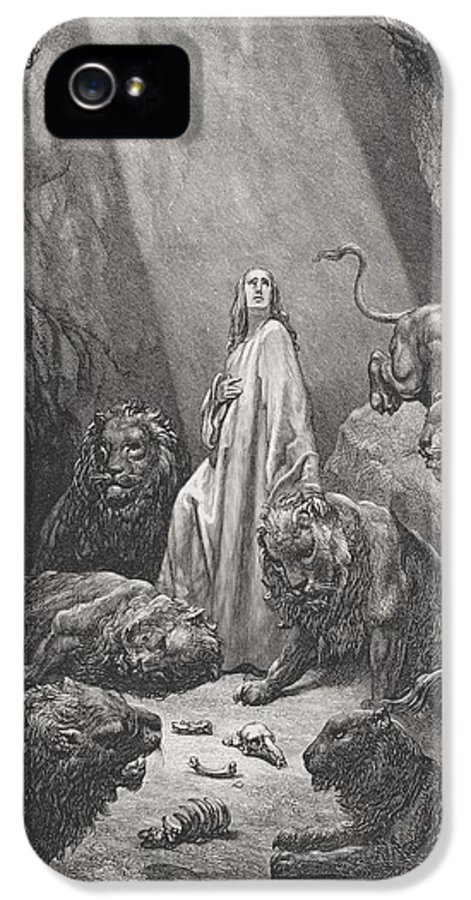 Lion IPhone 5 Case featuring the painting Daniel In The Den Of Lions by Gustave Dore