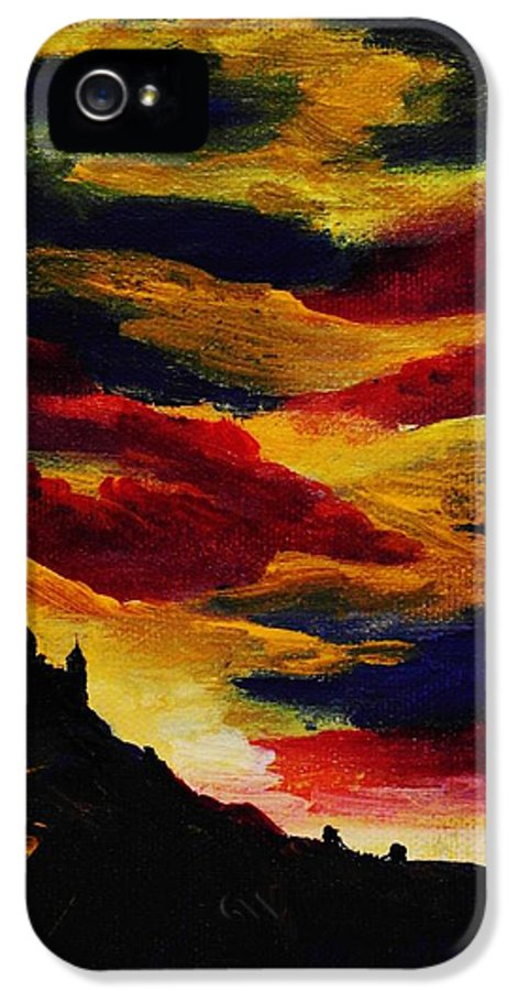 Mountain IPhone 5 Case featuring the painting Dark Times by Anastasiya Malakhova
