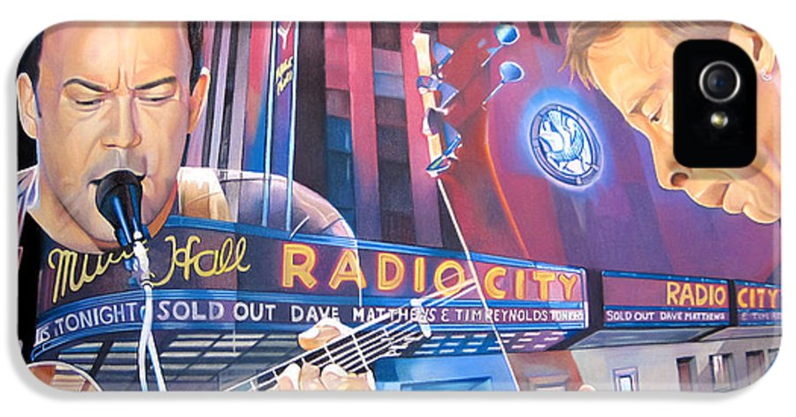 Dave Matthews IPhone 5 Case featuring the drawing Dave Matthews And Tim Reynolds At Radio City by Joshua Morton