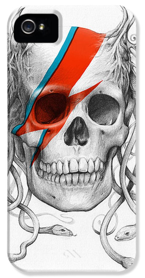 David Bowie IPhone 5 Case featuring the drawing David Bowie Aladdin Sane Medusa Skull by Olga Shvartsur