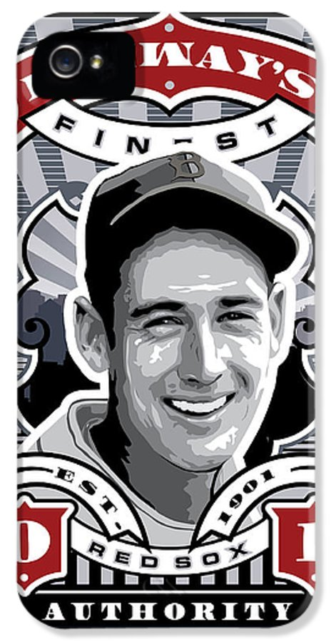 Ted Williams IPhone 5 Case featuring the digital art Dcla Ted Williams Fenway's Finest Stamp Art by David Cook Los Angeles