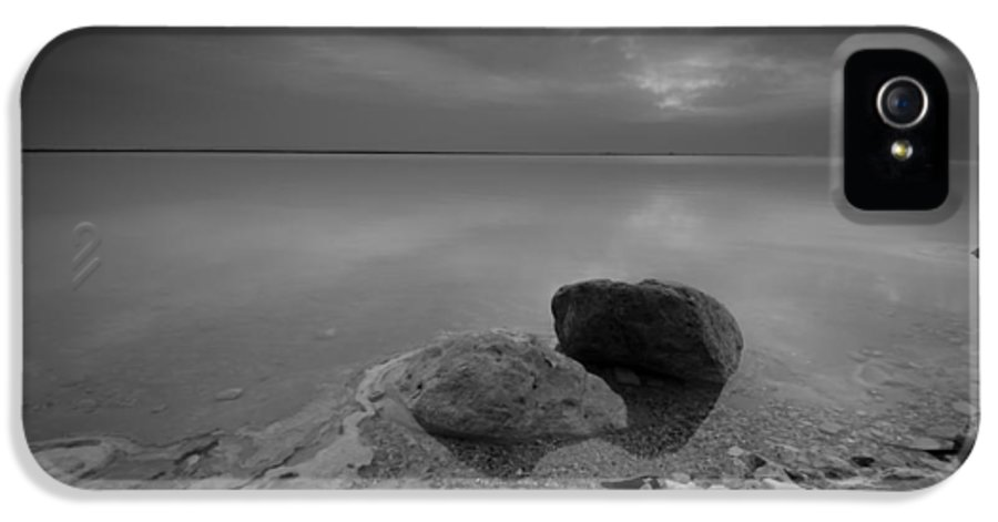 Israel IPhone 5 Case featuring the photograph Dead Sea Sunrise Black And White by David Morefield