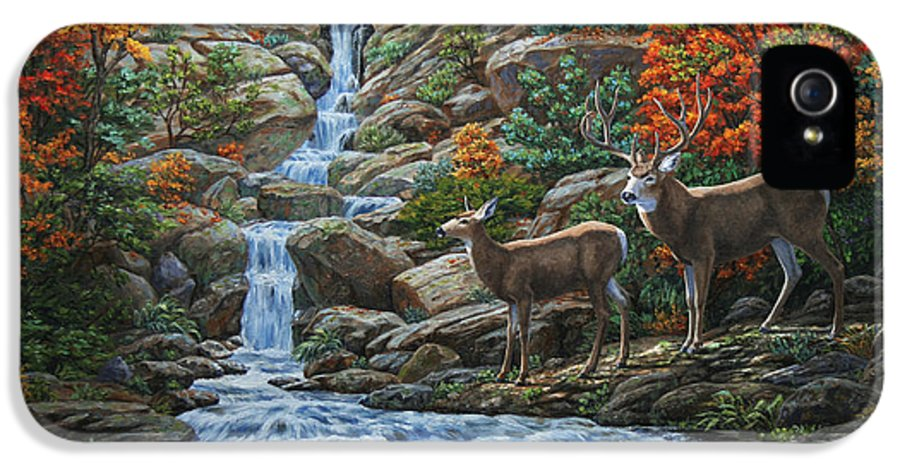 Water IPhone 5 Case featuring the painting Deer Painting - Tranquil Deer Cove by Crista Forest