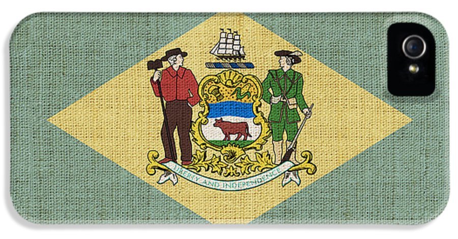 Delaware IPhone 5 Case featuring the painting Delaware State Flag by Pixel Chimp