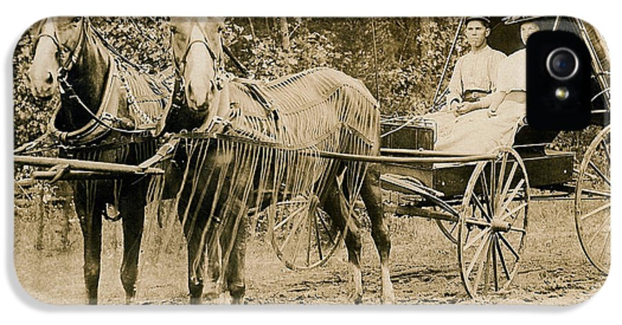 Horse IPhone 5 Case featuring the photograph Delivering The Mail 1907 by Floyd Russell