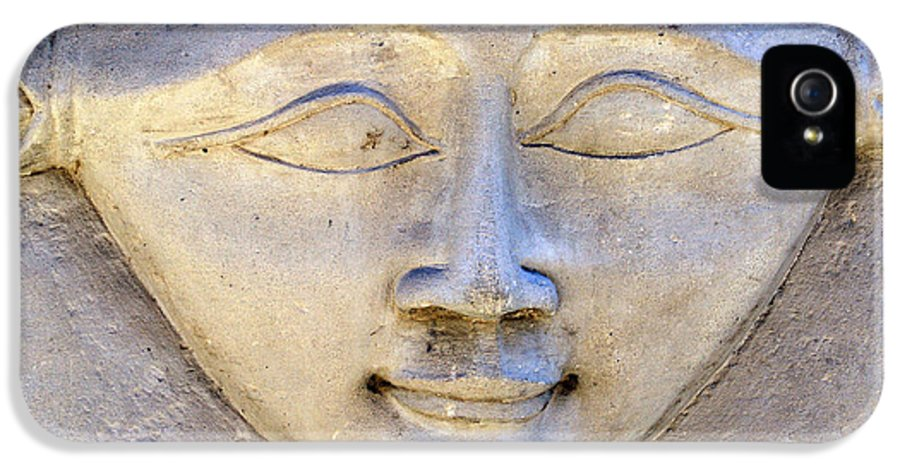 Hathor IPhone 5 Case featuring the photograph Dendara Carving 2 - Hathor by Brian Raggatt