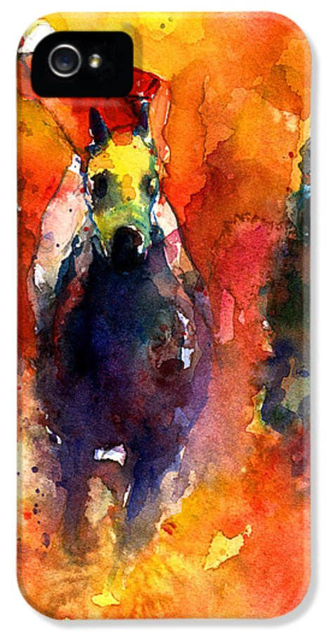 Polo Horse IPhone 5 Case featuring the painting Derby Horse Race Racing by Svetlana Novikova