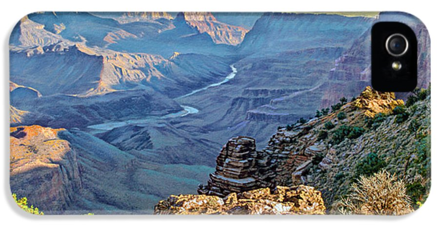 Landscape IPhone 5 Case featuring the painting Desert View-morning by Paul Krapf