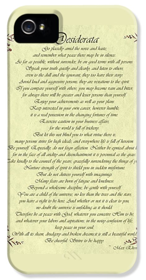 Desiderata IPhone 5 Case featuring the drawing Desiderata Gold Bond Scrolled by Movie Poster Prints