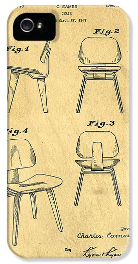 Patent IPhone 5 Case featuring the drawing Designs For A Eames Chair by Edward Fielding