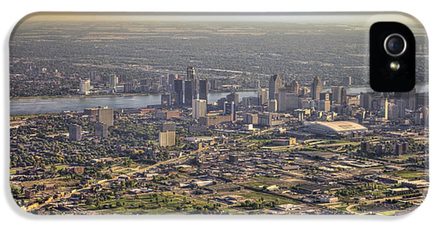 Sun IPhone 5 Case featuring the photograph Detroit City by Nicholas Grunas