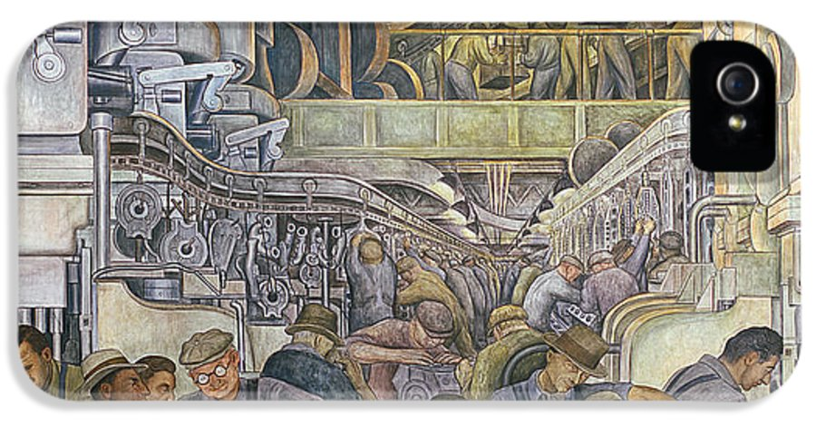 Machinery IPhone 5 Case featuring the painting Detroit Industry North Wall by Diego Rivera