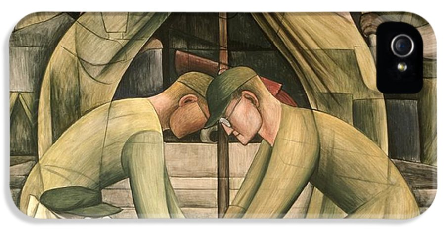 Ford IPhone 5 Case featuring the painting Detroit Industry South Wall by Diego Rivera