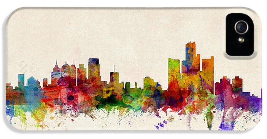 Watercolour IPhone 5 Case featuring the digital art Detroit Michigan Skyline by Michael Tompsett