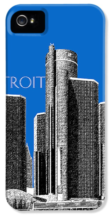 Detroit IPhone 5 / 5s Case featuring the digital art Detroit Skyline 1 - Blue by DB Artist