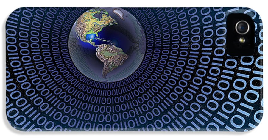 Binary Code IPhone 5 Case featuring the digital art Digital World by Carol and Mike Werner