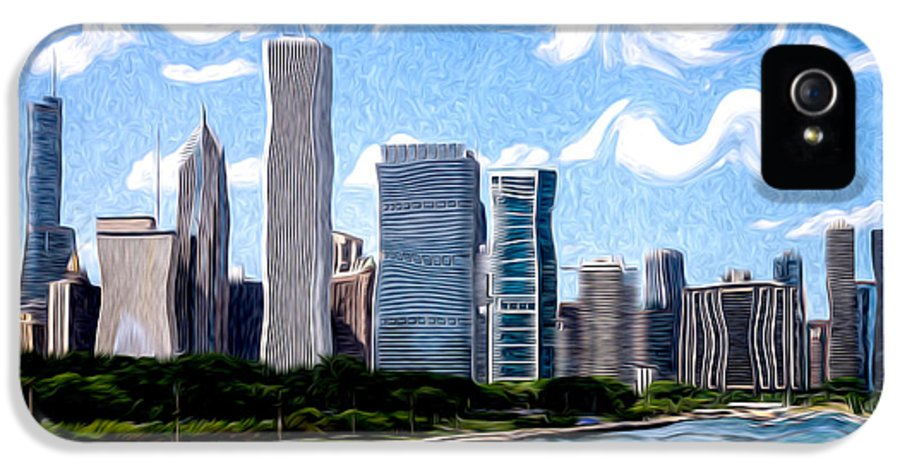 2012 IPhone 5 Case featuring the photograph Digitial Painting Of Downtown Chicago Skyline by Paul Velgos