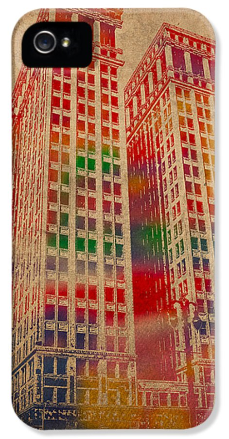 Dime IPhone 5 Case featuring the mixed media Dime Building Iconic Buildings Of Detroit Watercolor On Worn Canvas Series Number 1 by Design Turnpike
