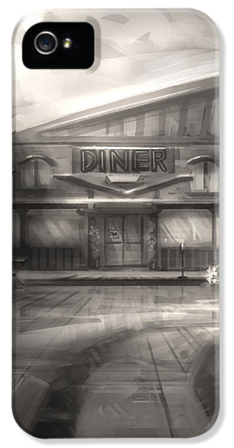Digital Painting IPhone 5 Case featuring the digital art Diner by Alex Ruiz