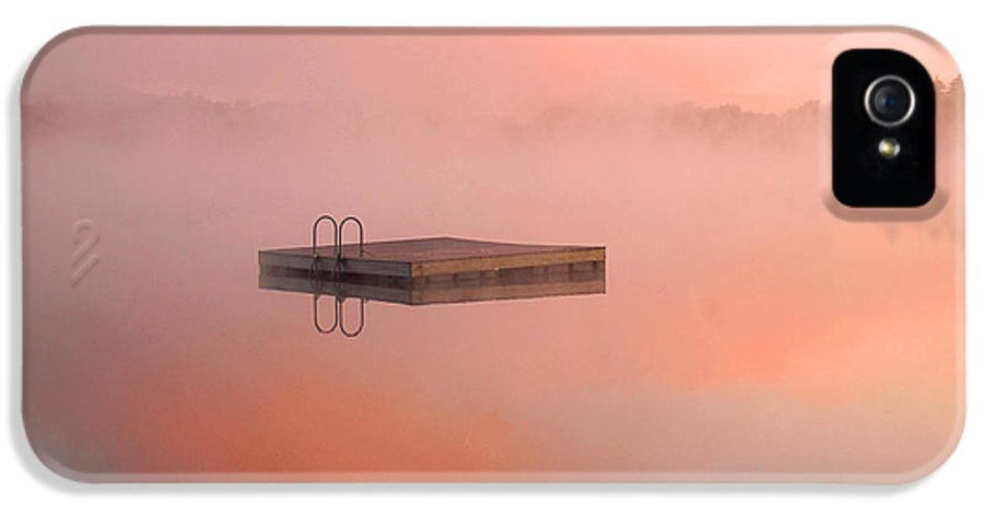 Dock IPhone 5 Case featuring the photograph Distant Dock At Sunrise by Lucia Vicari