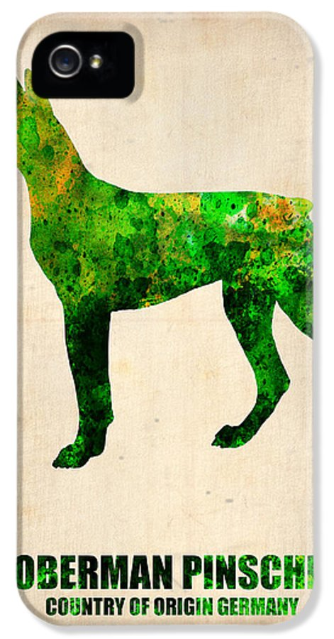 Doberman Pinscher IPhone 5 Case featuring the painting Doberman Pinscher Poster by Naxart Studio