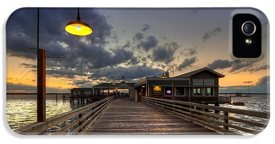 Boats IPhone 5 Case featuring the photograph Dock Lights At Jekyll Island by Debra and Dave Vanderlaan