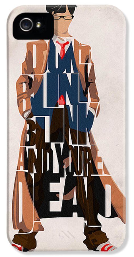 Doctor Who IPhone 5 Case featuring the painting Doctor Who Inspired Tenth Doctor's Typographic Artwork by Inspirowl Design