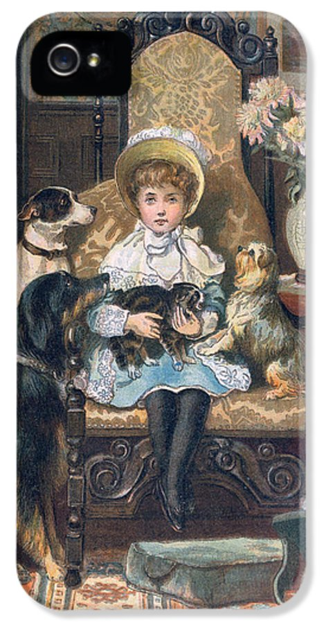Cute IPhone 5 Case featuring the painting Doddy And Her Pets by Charles Trevor Grand