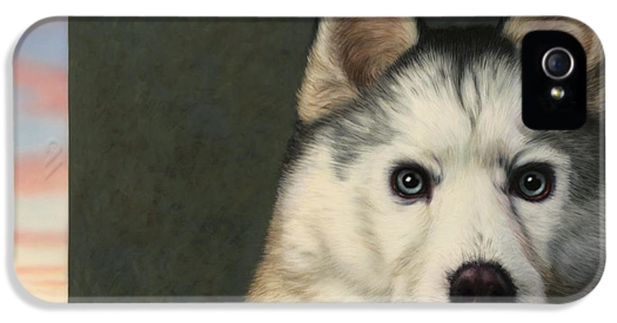 Dog IPhone 5 Case featuring the painting Dog-nature 9 by James W Johnson