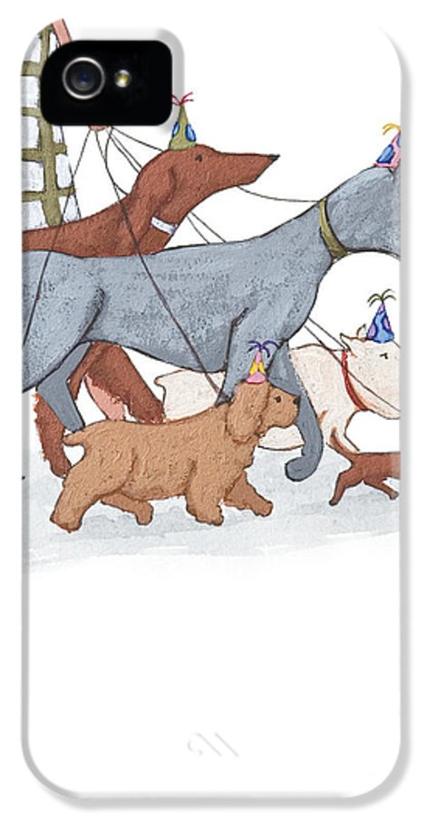 Dog IPhone 5 Case featuring the painting Dog Walker by Christy Beckwith