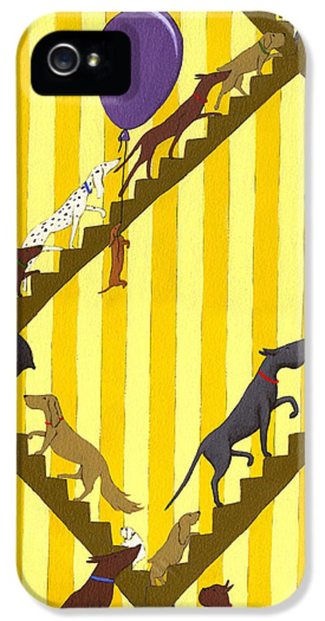 Dog IPhone 5 Case featuring the painting Dogs Going Up Stairs by Christy Beckwith