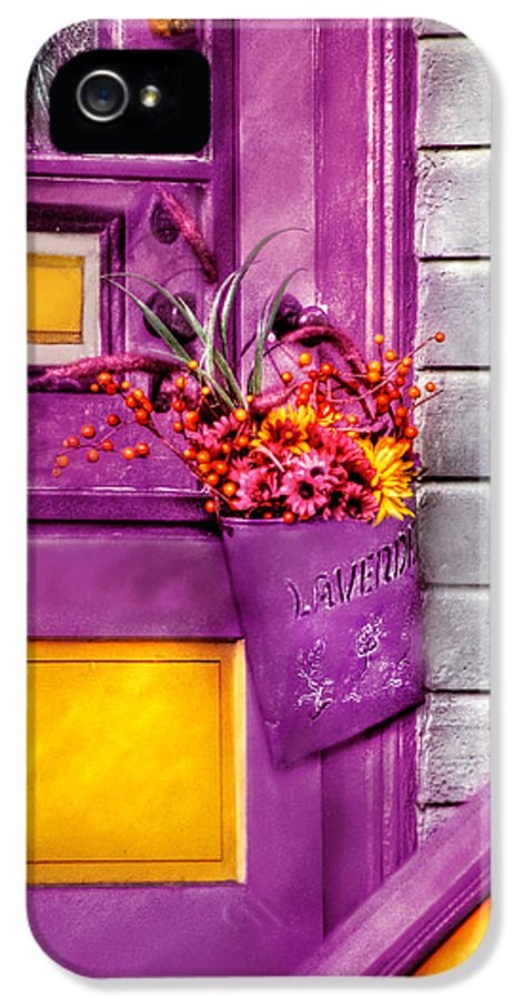 Savad IPhone 5 Case featuring the photograph Door - Lavender by Mike Savad