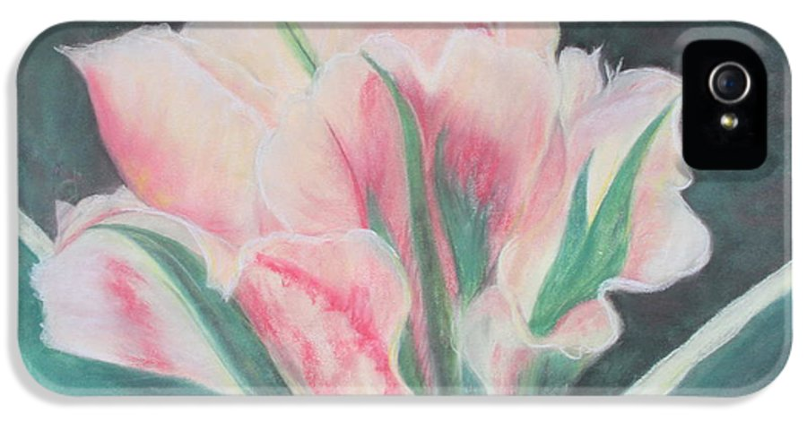 Double Tulip IPhone 5 Case featuring the painting Double Tulip by Cathy Lindsey
