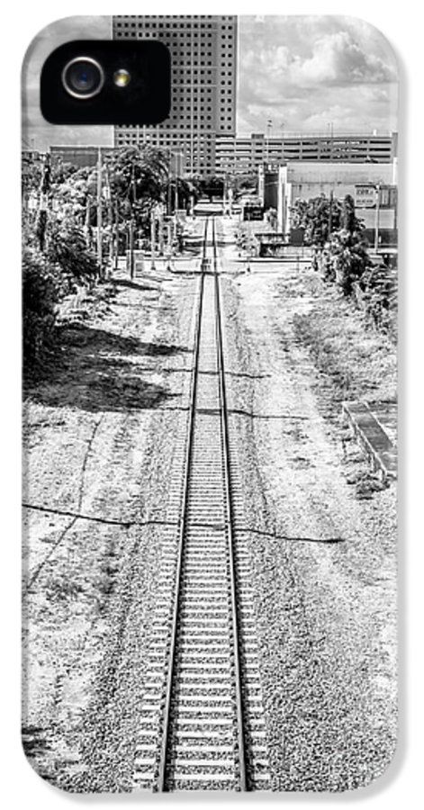 America IPhone 5 Case featuring the photograph Down The Tracks - Downtown Miami - Black And White by Ian Monk